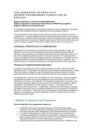 THE ADMISSION CRITERIA 2013 DEGREE ... - SAMK
