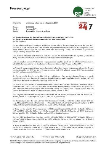 UAEs real estate sector rebounds in 2010 - Vae-psf.de