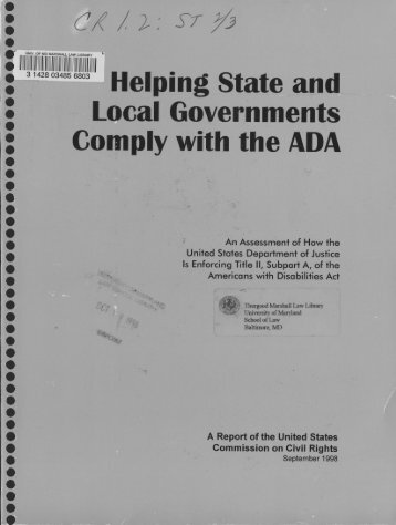 Helping State and Local Government Comply with the ADA
