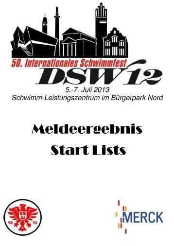 Meldeergebnis Start Lists - DSW 12