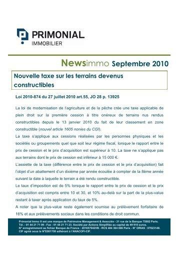 News PrimonialImmo - Septembre 2010 - Primonial Immobilier