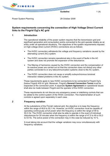 HVDC system requirements - Fingrid
