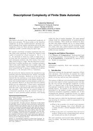 Descriptional Complexity of Finite State Automata - Bulletin of the ...