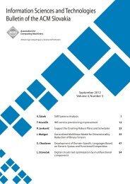 September 2012, Volume 4, Number 3 - Bulletin of the ACM Slovakia
