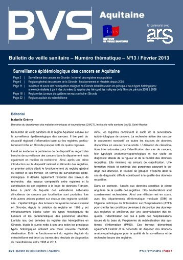 Bulletin de veille sanitaire Aquitaine. n°13 - Université Bordeaux ...