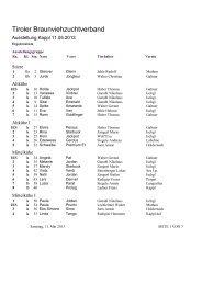 Die Siegerliste der Talausstellung Paznaun 2013 ... - Braunvieh Tirol
