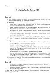 Corrigé de l'atelier Roches n°21 Roche A Roche B - Prepaangers.fr