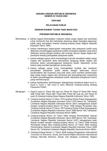 Undang-Undang Republik Indonesia Nomor 25 Tahun 2009