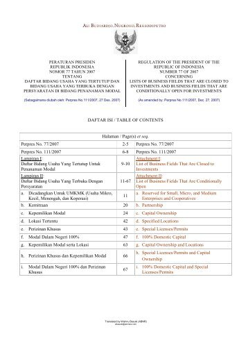Perpres 111.2007.pdf - Badan Pelayanan Perizinan Terpadu ...