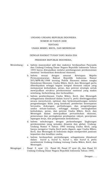 UU 20 Tahun 2008 - Bank Indonesia