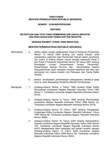 peraturan menteri perindustrian republik indonesia nomor - Badan ...