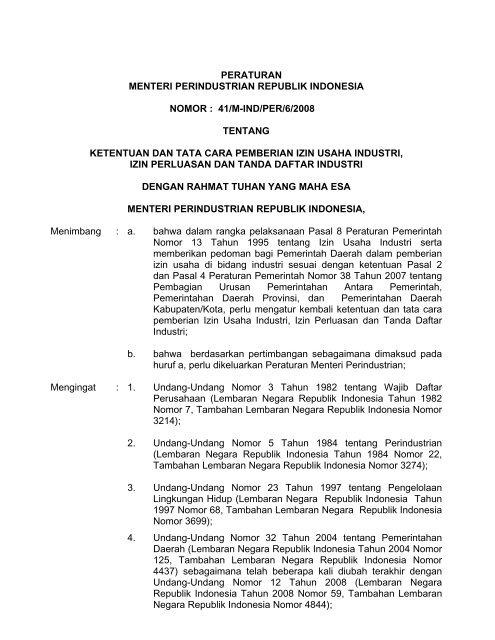 Peraturan Menteri Perindustrian Republik Indonesia Nomor Badan