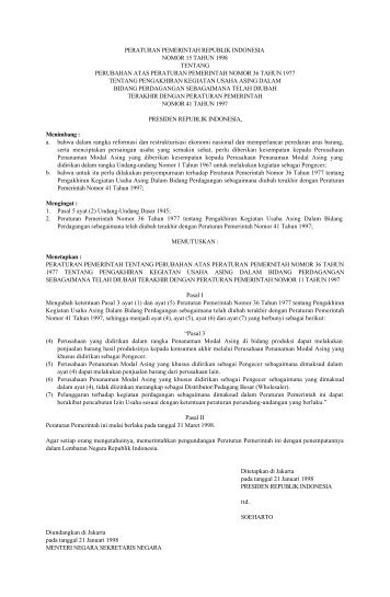 peraturan pemerintah republik indonesia nomor 15 tahun 1998 ...