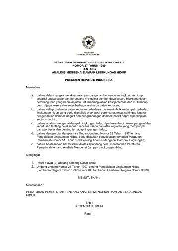 peraturan pemerintah republik indonesia nomor 27 tahun 1999 ...