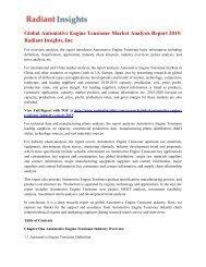 Global Automotive Engine Tensioner Market Analysis Report 2015: Radiant Insights, Inc