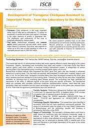Development of Transgenic Chickpeas Resistant to Important ... - ISCB