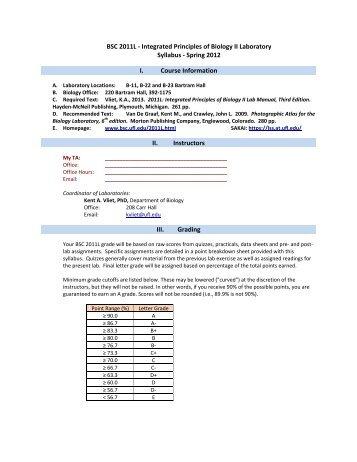Integrated Principles of Biology II Laboratory Syllabus - Spring 2012 ...