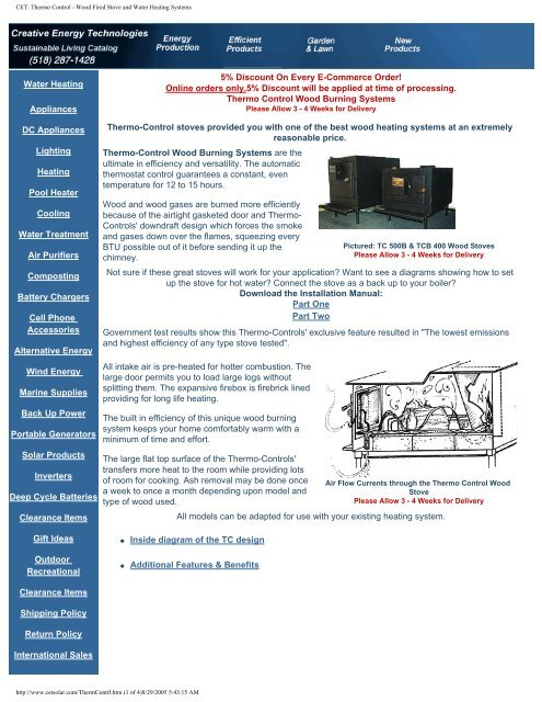 Cet Thermo Control Wood Fired Stove And Water Heating Systems