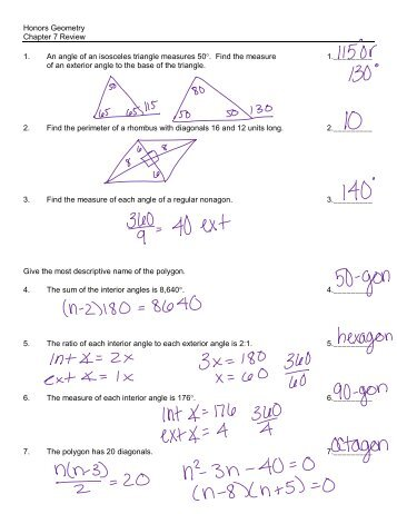 Honors geometry exam review chapter 7 Essay Sample - August 2019