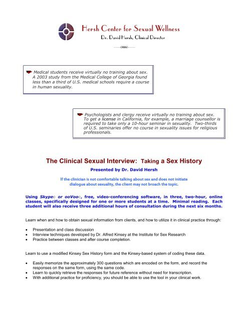 The Clinical Sexual Interview: Taking a Sex History