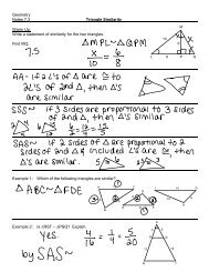 Geometry Notes 7.3 Triangle Similarity Warm Up: Write a statement ...