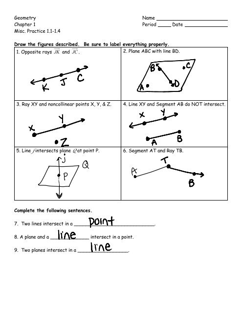 Geometry Name Chapter 1 Period Date Misc  Practice 1 1-1 4 Draw