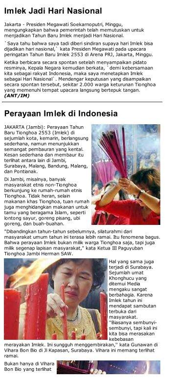Imlek Jadi Hari Nasional Perayaan Imlek di Indonesia