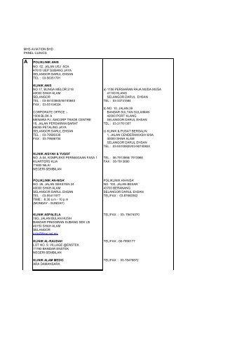 mhs aviation bhd panel clinics a poliklinik anis no. 52, jalan usj 8/2a ...