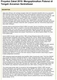 Proyeksi Zakat 2010: Mengoptimalkan Potensi di ... - Kliping Berita