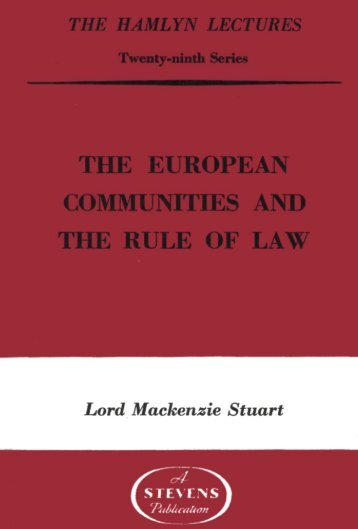 The European Communities and the Rule of Law - College of Social ...