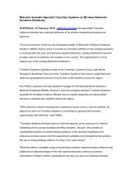 Motorola Australia Appoints Transition Systems as Wireless ...