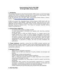 Communications Plan for EGU 2009 19-24 April 2009, Vienna, Austria