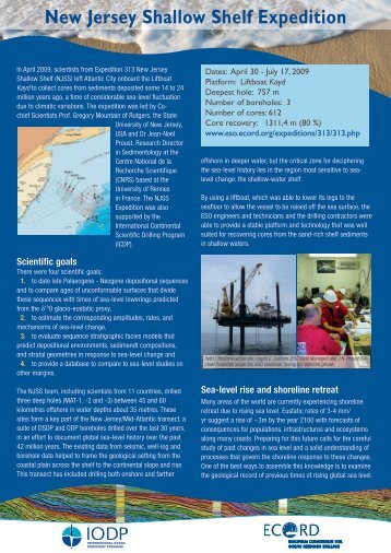 New Jersey - European Consortium for Ocean Research Drilling