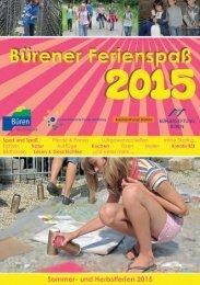 Bürener Ferienspaß Programm 2015
