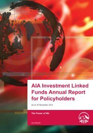 AIA Malaysia Investment Linked Funds Annual Report 2010