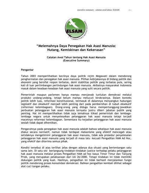 Executive Summary Hr Report 2003 Elsam