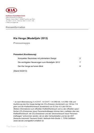 Kia Venga (Modelljahr 2013) Pressemappe - Pro cee'd