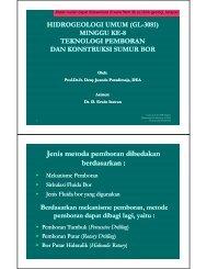 week8-gl-2121-general-hydrogeology-teknologi-pemboran - ITB
