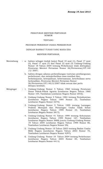 Revisi PERMENTAN versi 19 Juni 2013 - Elsam