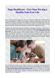Dogs Healthcare - Give Your Pet dog a Healthy Pain-Free Life