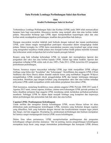 Catatan 5 tahun LPSK - Elsam