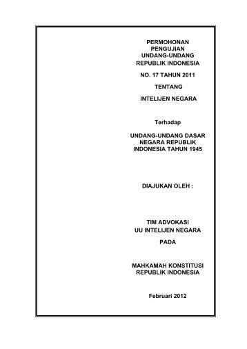 Permohonan Pengujian UU No. 17 Tahun 2011 tentang - Elsam