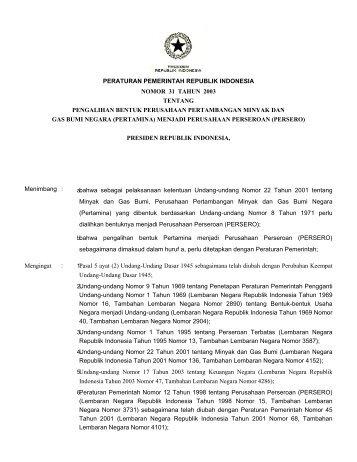 Peraturan Pemerintah Republik Indonesia Nomor 31 Tahun 2003