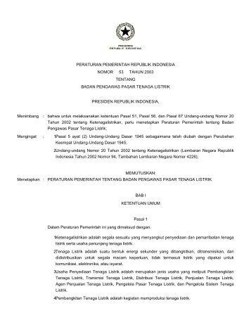 peraturan pemerintah republik indonesia nomor 53 tahun 2003 ...