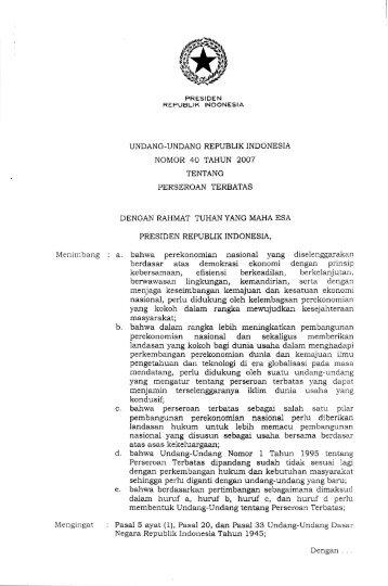 undang-undang republik indonesia nomor 40 tahun 2007 tentang ...