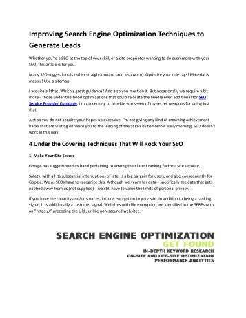 Improving Search Engine Optimization Techniques to Generate Leads