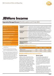 SMA JBWere Income Monthly Product Profile - MLC