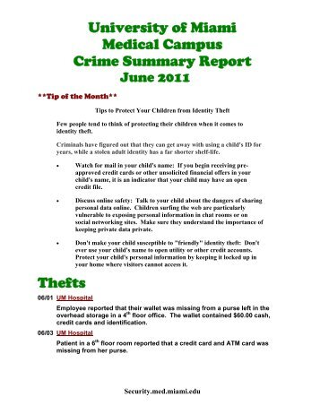 University of Miami Medical Campus Crime Summary Report Thefts