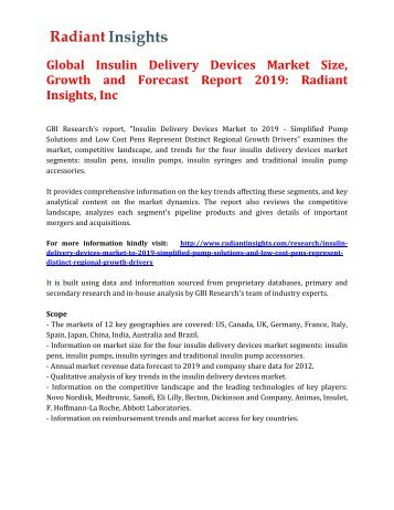 Global Insulin Delivery Devices Market Size, Growth and Forecast Report 2019: Radiant Insights, Inc