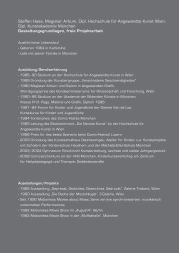 Steffen Haas, Magister Artium, Dipl. Hochschule für Angewandte ...